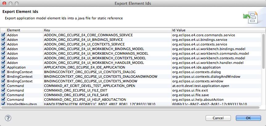 Export Id Handler Dialog
